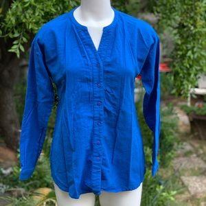 COLDWATER CREEK Blue Cotton Blouse Shirt Sz PS